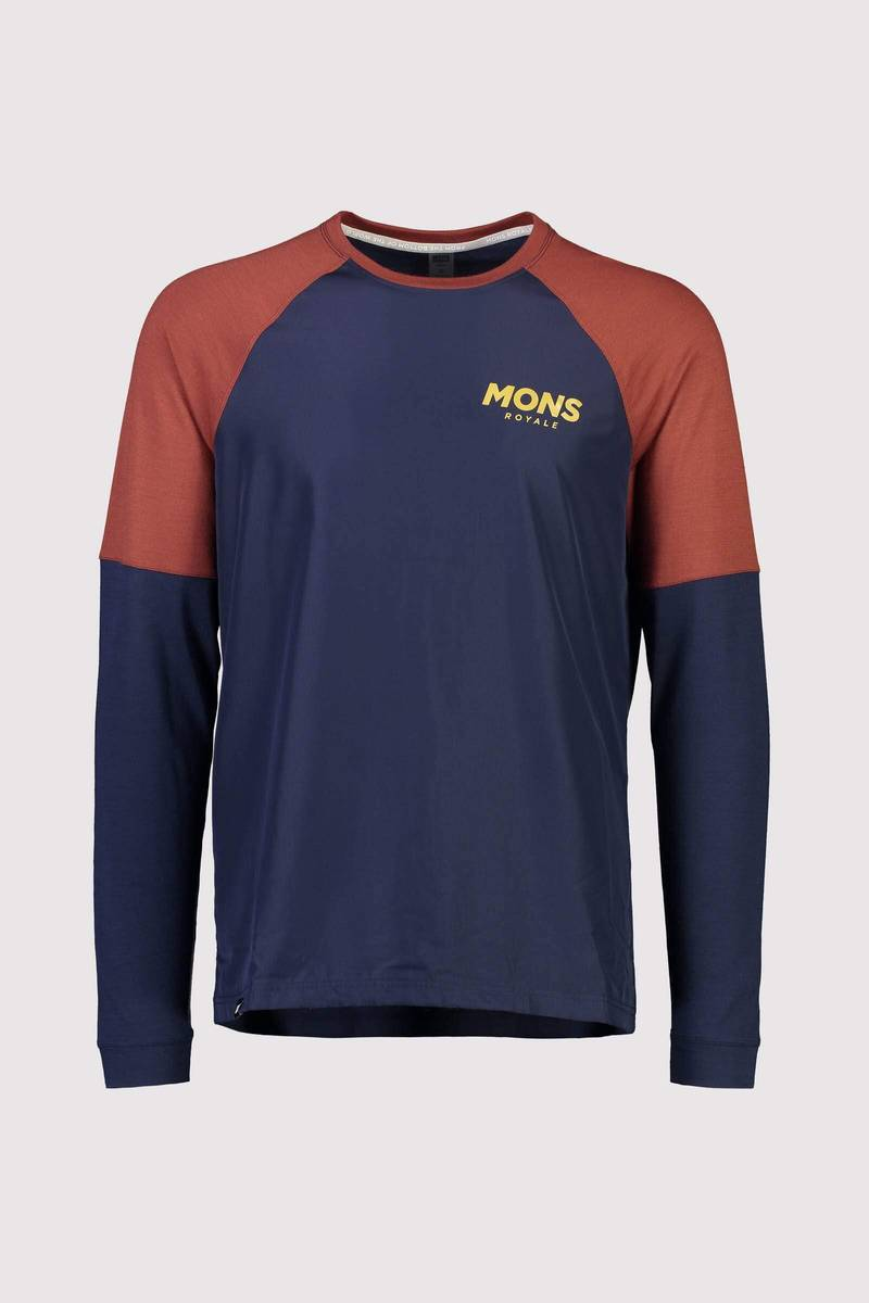 Mons Royale Tarn Freeride LS Wind Jersey Navy / Chocolate